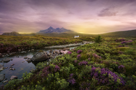 views of the mountains: Colorful sunset over the Scottish Higlands, river Sligachan, Scotland