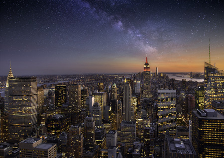 Milky way over Manhattan, New York City Archivio Fotografico
