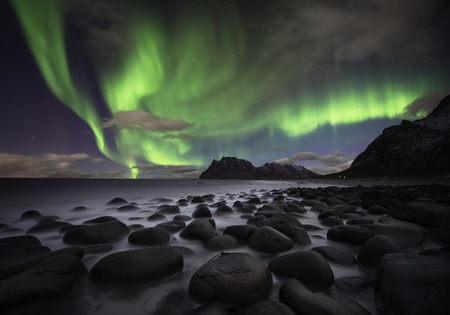 the aurora: Beautiful aurora over the Lofoten islands, Norway