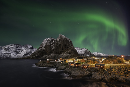 Beautiful aurora over Hamnoy, in  the Lofoten islands, Norway
