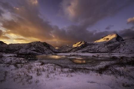 artic circle: Sunset over Lofoten islands, Norway, inside the artic polar circle