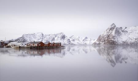 Beautiful sunrise oveer Hamnoy village, Lofoten islands, Norway in winter