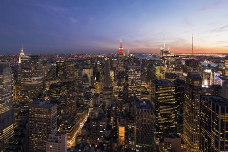 new york at night: Colorful sunset over New York City, Manhattan