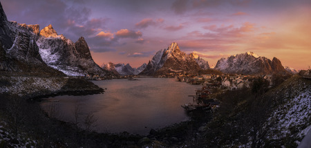 Colorful sunrise over Reine, Lofoten Islands, Norway Stock Photo