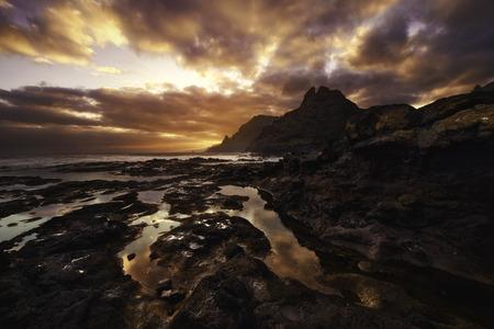 Colorful sunset over Punta del Hidalgo, Tenerife, Canary Islands, Spain