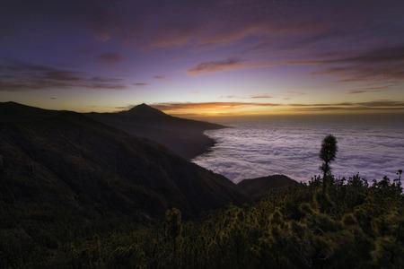 Colorful sunset over Teide, Tenerife, Canary islands Stock Photo