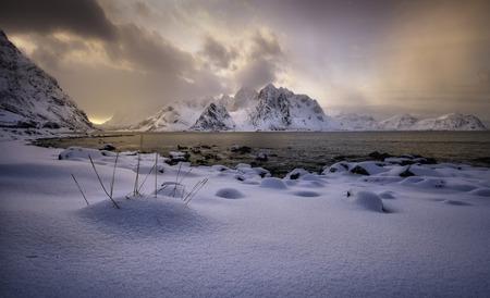 Sunset light in Vareid`s beach, Lofoten, Norway