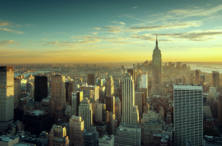 new york city panorama: Colorful sunset over the skyline of New York city