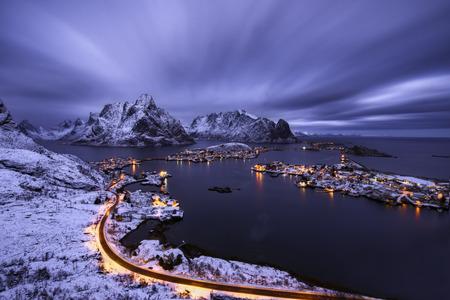 lofoten: Reine village in a cloudy sunset, Lofoten islands, Norway Stock Photo