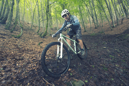 mountain biker: Rider in action at Freestyle Mountain Bike Session Stock Photo