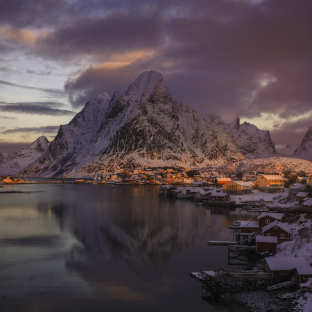 Sunrise over Reine, Lofoten islands, Norway in winter