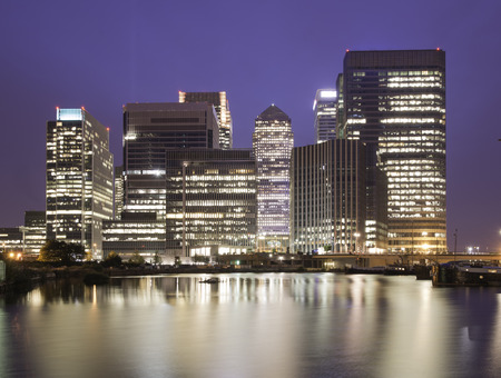 wharf: Financial district of  Canary Wharf at night, London