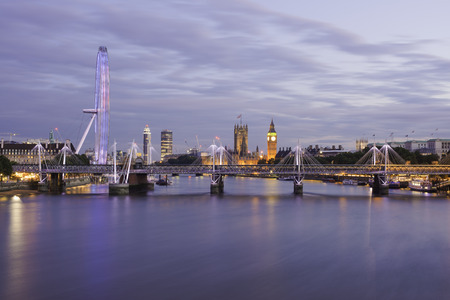 London skyline in the blue hour from Waterloo bridge