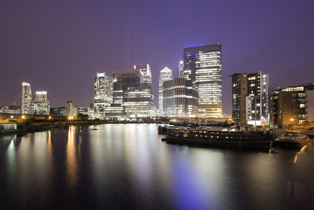 Financial district of Canary Wharf at night, London