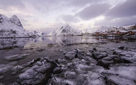 artic circle: Reine in winter, Lofoten islands, Norway, inside of Artic polar circle