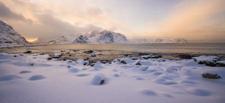 Lofoten beach at sunset, Norway in winter