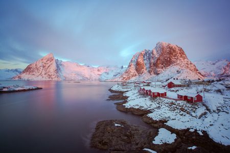 Colorful sunrise over Hamnoy, Lofoten islands, Norway in winter