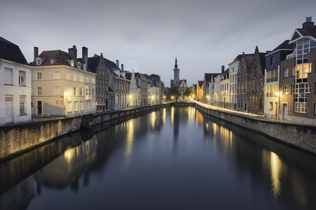 Cityscape at blue hour in Bruges, Belgium