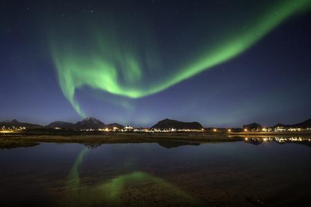 Northern lights over Leknes, Lofoten islands, Norway