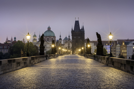 Sunrise over Charles V bridge, Prague, Czech Republic Stock Photo