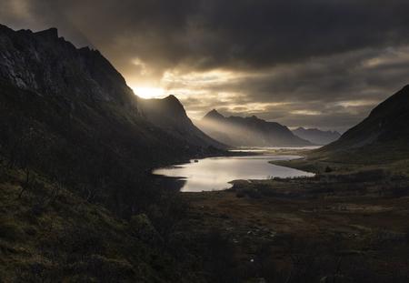 Last lights over Lofoten mountains, Norway Stock Photo