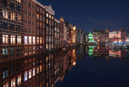 Night lights in the port, Amsterdam, Holland Stock Photo