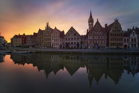 Beautiful sunrise over Ghent, Belgium