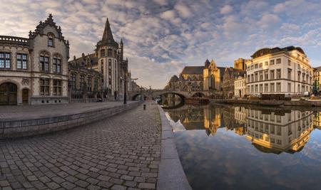 Beautiful panoramic at sunrise on Ghent, Belgium