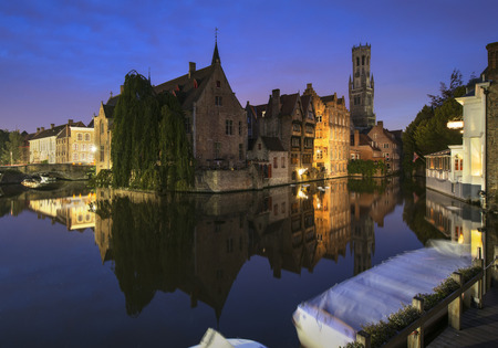 Blue hour over Bruges city, Belgium Stock Photo