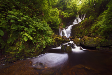 Beautiful waterfall in the middle of the forest, Torc, Ireland Stock Photo