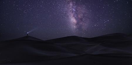 Alone man under the Milky Way, Sahara desert, Morocco.