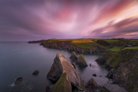 Sunset over the cliffs on the south of Cork, Ireland
