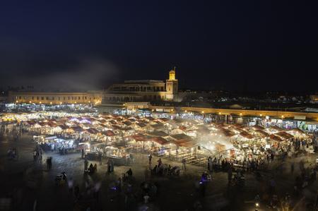 Busy square at night, Jemaa el Fnaa, Marrakesh, Morocco Stock Photo