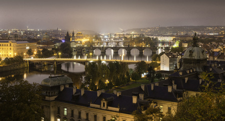 Panoramic view over Prague at night, Czech Republic Stock Photo