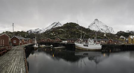 Nordic fisherman`s village in the fjiord, Lofoten coast, Norway