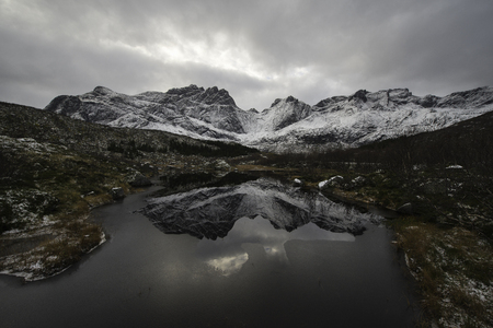 Reflection in the lake, Norwegian mountains in winter