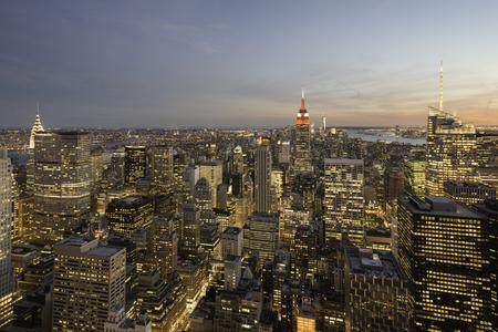 Manhattan skyline at sunset, New York City Stock Photo