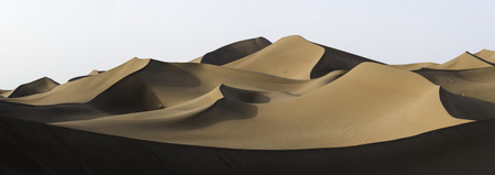 Panoramic view over Sahara`s dunes, Africa in a sunny day Stock Photo