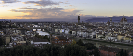 Panoramic view from Michelangelo's piazza, Florence, Italy Stock Photo