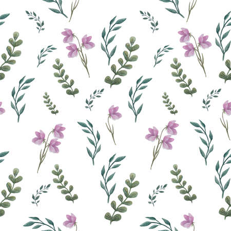 Watercolor twigs pattern. Seamless floral texture with branches and leaves. For printing on fabric and paper Archivio Fotografico