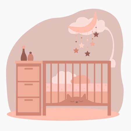 Newborn bed or crib with mobile toys and wardrobe.