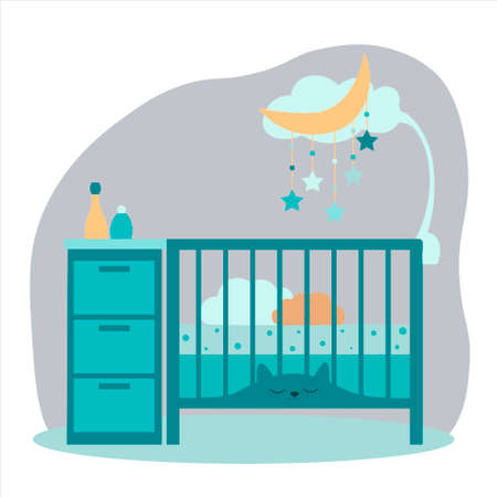 Newborn bed or crib with mobile toys and wardrobe. Vector. For postcards, poster, icon, decoration of childrens design.