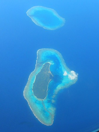 Aerial view on small islands, French Polynesia photo