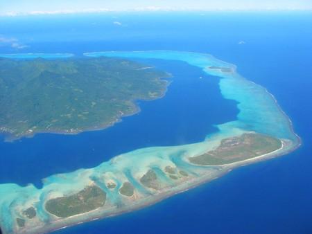 Aerial view on small lagoon, French Polynesia