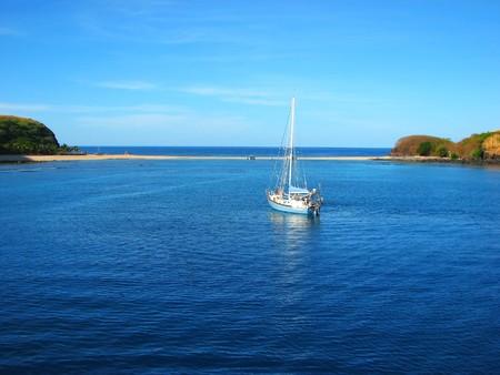 Boat and sand bank, Yasawa Islands, Fiji