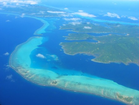 polynesia: Aerial view on small lagoon, French Polynesia