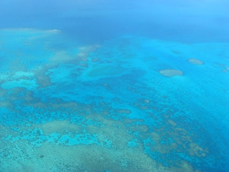 Aerial view on a small lagoon, New Caledonia, South Pacific photo