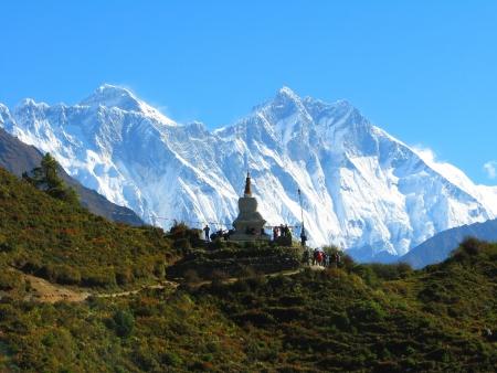 Mountain landscape of Sagarmatha National Park, Himalayas, Nepal 免版税图像