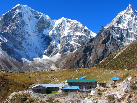 Small village in Sagarmatha National Park, Himalayas, Nepal photo