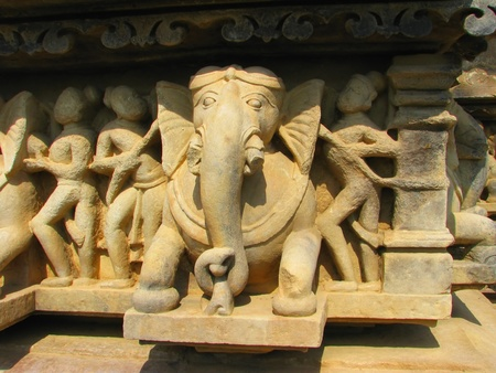 Stone carved erotic sculptures in Hindu temple in Khajuraho, Madhya Pradesh, India Stock Photo - 13037354